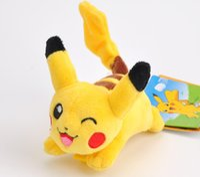 brinquedo de pelúcia senhora venda por atacado-Anime Stuffed Animal Super Bonito no Ombro-10 cm com Clipe, Kawaii Sorrindo Pika Plush chu Stuffed Toy Boneca; Senhora Menina Decoração Brinquedo De Pelúcia