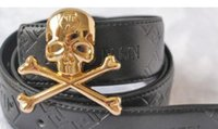 Wholesale skull womens - 2018 Hot black color P Belt high Quality PUNK Skull head Genuine Leather Designer Cowhide Q Belts For Mens womens Luxury Belts for gift..