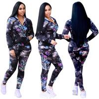 Wholesale Womens Long Length Coats - Two Piece Pant print Sportswear Hoodies+ Pants Leisure Women Jogging Sport Suit casual coat tracksuit Womens set Outfits