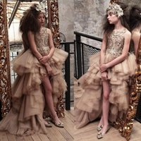 ingrosso indossano abiti eleganti-Elegante Hi Lo Applique Flower Flower Girls Abiti Jewel Neck senza maniche prima comunione Dress Kids Pageant Formal Wear Gown