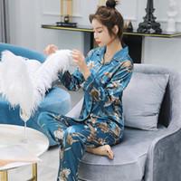 4a1c0e4980 2018 autumn Long Sleeve Silk Pajamas Set Two Pieces Set Women Sexy  Nightwear for Women Sleepwear Long Pant casual homewear