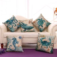 Wholesale Marine Supplies - 2018 octopus pillow case Cotton Linen Cushion Cover Marine Ocean animal pattern pillow case home sofa bedroom decorative supplies