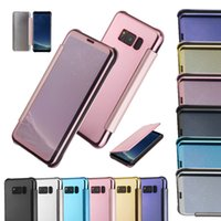 Wholesale Mirror Light Covers - For Samsung S8 Plus Luxury Smart View Mirror PU Leather Case Window Flip Cover Case For Samsung S6 S7 Edge Note 4 5