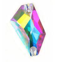 бисерные кристаллы для шитья оптовых-Высокое качество 12x24mm стекло K9 ромб Кристалл шить на камень страз flatback 2holes Кристалл ясно Ab шить бусы