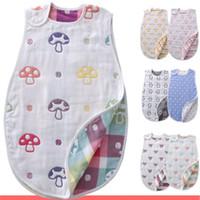 kids cotton bags venda por atacado-Nova Chegada Recém-nascidos Sem Mangas Do Bebê Saco de Dormir Animais Dos Desenhos Animados 100% Algodão Crianças Saco de Dormir Quente Flores Padrão de Impressão