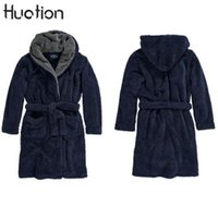 теплый халат для мужчин оптовых-Huation New Longline Hooded Robes Men Fleece Bathrobes For Male Winter Keep Warm Exquisite Plush Men Gown Couples Robes Cardigan