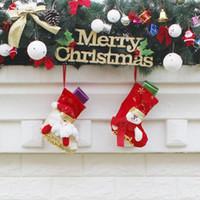 muñeco de nieve de juguete al por mayor-Medias de Navidad Hecho a mano Manualidades Niños Dulces Regalo Papá Noel Claus Muñeco de nieve Ciervos Calcetines de Navidad Árbol de Navidad juguete de regalo de regalo # 57 58