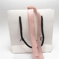 exibição do anel rosa venda por atacado-Caixa De Papelão Rosa Saco De Jóias De Papel Branco Da Fita Para Pandora Pulseira Brincos Anel Colar De Jóias Embalagem E Display
