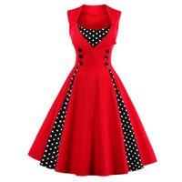 vestido rockabilly vermelho venda por atacado-Mulheres 5xl 50 s 60 s retro vintage dress polka dot patchwork sem mangas primavera verão red dress rockabilly balanço party dress