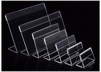 suportes de plástico para papéis venda por atacado-Vários Menor Tamanho T1.3mm Limpar Acrílico Plástico Sinal de Exibição de Papel Cartão de Etiqueta de Preço Titular da Marca L Em Forma de Suporte Horizontal Na Tabela 50 pcs