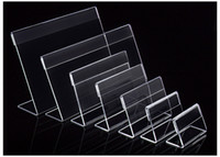 Wholesale plastic paper holder stand for sale - Group buy Various Smaller Size T1 mm Clear Acrylic Plastic Sign Display Paper Label Card Price Tag Holder L Shaped Stand Horizontal On Table