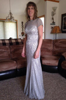 brautkleid durchschauen großhandel-Vintage Kurzarm Silber Mutter der Braut Kleid Spitze bodenlangen formale Hochzeit Party Kleid durchschauen Mutter Kleider