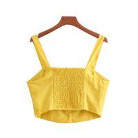 желтая цельная блузка оптовых-женщины элегантный желтый растениеводство топы короткие camis сексуальная рукавов ремни твердые рубашки дамы лето повседневная блузка blusas