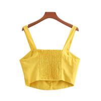 ingrosso gialle camicette estive-donne eleganti top giallo crop breve camis sexy cinghie senza maniche solido camicie delle signore estate camicetta casual blusas
