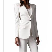 ingrosso vestito di pantalone d'avorio delle donne-Slim Fit Custom Made Ivory Donna Pant Abiti Scialle Risvolto Moda manica lunga Ladies One Button giacca + pantaloni
