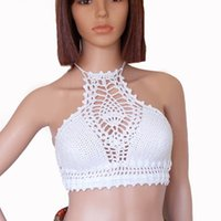 Wholesale white halter neck bikini online – White high neck bikini top Crochet crop top Festival swimwear Backless bikini Lace halter Halter neck Bustier summer swimwear