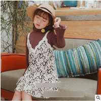 Wholesale Black Suits Suspenders - Kids princess outfits Girls high collar flare sleeve T-shirt+lace flowers suspender V-neck falbala dress 2pcs sets Children suits C2489