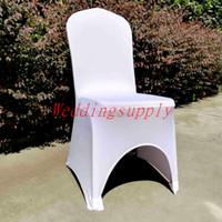 банкетные чехлы оптовых-100 хорошее качество спандекс чехол на стул белый цвет универсальный размер лайкра чехлы на стулья с аркой для свадьбы банкет крышка стула