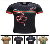 Wholesale snake paintings - New Summer Cotton Men T-Shirts Fashion 3D Plate Snake Painting Tide Brand Mens Designer Shirts Hip Hop Luxury Short Sleeve T Shirt