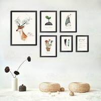 ingrosso arte del muro di trittico moderno-Trittico Nordic Modern Acquerello Su Tela Dipinto Arte Minimalista HD Stampa Poster Testa Deer Adesivi Murali Soggiorno Decorazione Domestica