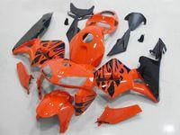 carenagem de motocicleta laranja preto venda por atacado-Kit de Carenagem de motocicleta para HONDA CBR600RR F5 05 06 CBR 600RR 2005 2006 cbr600rr ABS Flames laranja preto Carenagens set + 7gifts HJ03