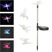 Wholesale Dragonfly Solar - Solar Lawn Light Color Changed Hummingbird Butterfly Dragonfly Solar Powered Lights Outdoor Garden Lights for Patio Yard Light CCA8909 30pcs