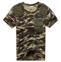 Wholesale army combat shirts online - Camouflage Summer T shirt Men Quick Dry Breathable Combat T Shirt Outdoor Sport Hunting Tshirt With Pocket