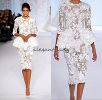 couture formal dresses Canada - 2018 White Dresses Evening Wear Long Sleeve Knee Length Short Prom Lace Floral Haute Couture Ralph Russo Peplum cocktail Formal Gowns