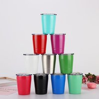 Wholesale 9oz Stainless Steel Mugs With Lids Straws Colors Wine Bottle Double Wall Tumblers Coffee Beer Mug Car Cups OOA5866