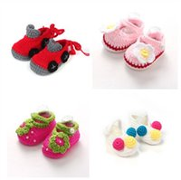 Wholesale crochet babies shoes for sale - Group buy Cute baby casual shoes handmade shoes baby knited shoes First Walkers Crib Crochet Flower Casual Handmade