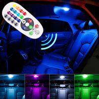 luces de lectura interiores para coches al por mayor-Control remoto del interior del automóvil RGB LED Luz de lectura del automóvil DC 12V T10 5050 Brillante Bombilla Lámpara Interior del automóvil Luz de separación