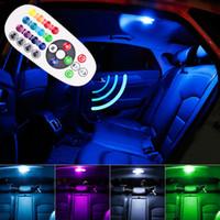 parlak ışıklar otomatik toptan satış-Uzaktan Kumanda Araba Iç RGB LED Araba Okuma Işık DC 12 V T10 5050 Parlak Lamba Ampul Oto İç Lambalar Gümrükleme ışık