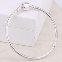 erkekler için boncuk bilezik toptan satış-Fabrika Toptan 925 Ayar Gümüş Bilezikler 3mm Yılan Zincir Fit Pandora Charms Boncuk Bileklik Bileklik Takı Yapımı Hediye Erkekler Kadınlar Için