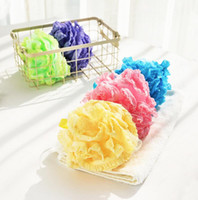 Wholesale mesh bathing shower sponges resale online - New fashion Lace Mesh Pouf Sponge ball Bathing Spa Handle Body Shower Scrubber Ball Colorful Bath Brushes Sponges