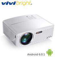 lcd bluetooth toptan satış-VIVIBRIGHT 1800 Lümen LED Projektör GP80 / GP80UP. TV LED Ev Sineması için (İsteğe Bağlı Android 6.0.1, WIFI, Bluetooth Basit Beamer)