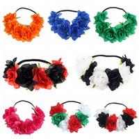 yılbaşı çelenkleri toptan satış-Noel Çiçek Çelenk Simülasyon Elastik Hairband Cadılar Bayramı Yeni Moda Kumaş Kızlar Saç Aksesuarları Çiçek Çelenk CCA10314 100 adet