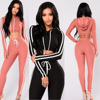 Wholesale yoga sweat suit resale online - Autumn And Winter pink women tracksuit Sexy Exercise piece woman set Ladies New Style pink women sweat suits