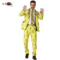 hint kıyafetleri toptan satış-CRAZE 2018 Sarı Hint Kaplan Takım Elbise Erkekler Şerit Cadılar Bayramı Kostümleri Blazer Hayvan Cosplay Moda Karnaval Parti Sahne Kıyafeti