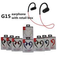 blackberry headphones mic großhandel-G15 Bass Sport Headset Universal Bluetooth Kopfhörer Wasserdichte Kopfhörer Stereo Ohrhörer Ohrhörer G5 marke power 3 Mit Mikrofon 50 stücke