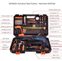 cuchillos martillados al por mayor-Kits de herramientas de mano para instrumentos de mano para reparación 58 Taladro de martillo con marco de sierra multifunción con alicates de cuchilla Taladro de llave