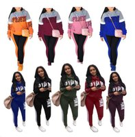 Wholesale pink girl suit pieces online - Women Pink Letter Tracksuit Plus Size girls sportswear Hoodie long Pants Trousers pieces set Outfit Spring Autumn Casual Clothes Suit