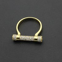 Wholesale horseshoe ring stainless steel - High-grade copper jewelry ring wholesale horseshoe with diamond ring full diamond ring.