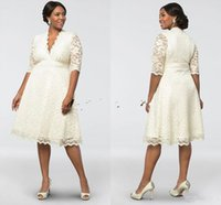 Wholesale belle wedding dresses resale online - 2018 Elegant Cheap Belle Deep V neck Short Lace Applique Wedding Dresses Half Sleeves Knee length Plus Size Bridal Wedding Gown Custom Made