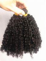 ingrosso estensioni dei capelli estensioni umane-Nuovo Arriva Brasiliano Human Kinky Ricci estensioni dei capelli pre-bonded Natral Colore nero 1 g / pz 100 g un fascio