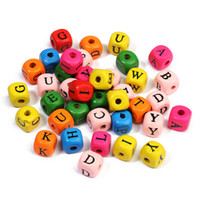 Wholesale Alphabet Spacer Beads - NEWEST DIY 100PCs Alphabet Letter Wooden Beads Square Cube Mixed Colourful Alphabet Letters Cube Wood Spacer Beads Whsle 10mm