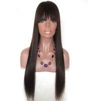 perucas 12 venda bangs venda por atacado-Glueless 100% não transformados beleza suave brilho franja cabelo humano virgem natural cor de seda reta longa peruca cheia do laço superior para venda