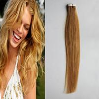 extensiones de cinta virgen brasileña al por mayor-100g cinta en extensiones de cabello humano recto 40pcs brasileña Virgen pelo miel rubia cinta en cabello humano