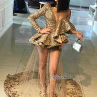 Wholesale sequin see cocktail dresses - Sparkle Bling Sequins Appliques Cocktail Dresses Ruffles Elegant One Shoulder Women Occasion Prom Evening Gowns See through ba9830