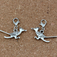 Wholesale bird silver charm bead resale online - 100Pcs Antique Silver Roadrunner Bird Charms Bead with Lobster clasp Fit Charm Bracelet DIY Jewelry x26mm A b