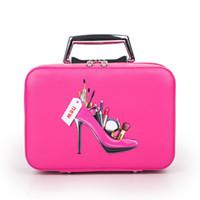 sacs à motifs achat en gros de-Trousse de maquillage professionnel avec motif de talon haut Cartoon Portable Make up Case Beauty Case en cuir Tronc Main Sac Coametic